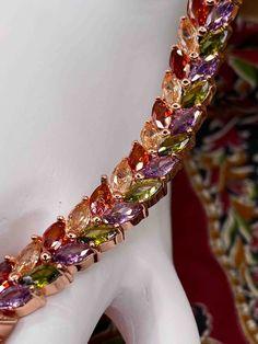 Sumptuous Rose Gold Laurel Leaf Romanesque Cubic Zirconia Bracelet Rose Gold - Bracelet in Premium LED Lighted Gift Box