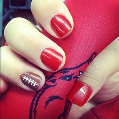 WPS! My Razorback nails for the red out game!