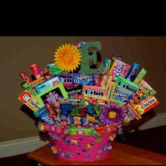cute Candy Basket Candy Gift Baskets, Raffle Baskets, Candy Gifts, Boyfriend Gift Basket, Boyfriend Gifts, Liquor Candy, Candy Arrangements, Bubble Bottle, Auction Baskets