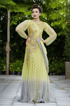Net Semi Stitched Evening Gown In Light Yellow Colour