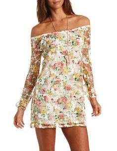 Off-the-Shoulder Floral Print Lace Shift Dress: Charlotte Russe