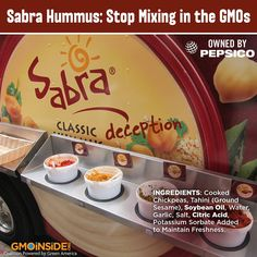 Classic GMO deception from Sabra. Now we know why Pepsi spent MILLIONS against GMO labeling - so they could keep ingredients like genetically engineered soybean oil hidden. TAKE ACTION: http://gmoinside.org/sabra #GMOs #food #righttoknow #LabelGMOs