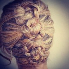 1. Make 3 or 4 ponytails   2. Braid each ponytails with regular braids, u can also use fishtail for some variations, u can even mix several braids  3. Turn those braids into little buns  4. Enjoy!   http://web.stagram.com/n/braidsforgirls/