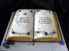 This bible was hand carved from three 1/4 sheet cakes....