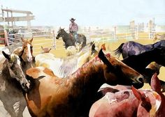 artist Don Weller has a way to capturing horses, cowboys and the west. Look at the light