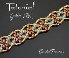 This listing is for a digital Photo Tutorial. Gold, bronze and fire-polished crystal look amazing together and highlight the beautiful repeating ornament of this elegant and rich beaded bracelet.