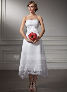 Wedding Dresses - $136.99 - A-Line/Princess Sweetheart Asymmetrical Organza Satin Wedding Dress With Lace Beadwork Sequins (002008177) http://jenjenhouse.com/A-Line-Princess-Sweetheart-Asymmetrical-Organza-Satin-Wedding-Dress-With-Lace-Beadwork-Sequins-002008177-g8177?ver=1