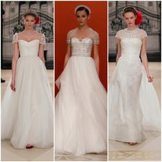 Minimal coverups for strapless gowns--Reem Acra Collection at BG Bridal. Lovely! 212 872 8957