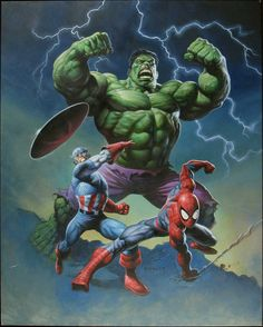 some of the greatest heroes of the marvel universe, including captain america, hulk, and the spiderman Hulk Marvel, Marvel Dc Comics, Comics Spiderman, Hulk Comic, Marvel Art, Batman, Marvel Heroes, Comic Art, Superman Hulk