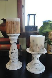 BEAUTIFUL CHIPPY SHABBY CHIC DISTRESSED SET OF LARGE WOODEN CANDLE HOLDERS