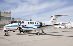 NASA's Beechcraft B-200 Super King Air is shown on the ramp at the Armstrong Flight Research Center.