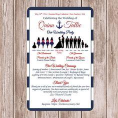 CUSTOM Nautical Wedding Silhouette Program Choose Colors Printable Party Size