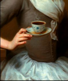 "Detail from 'Eine Kaffee Schenkerinn' Portrait of the Artist's Daughter, Offering a Cup of Coffee, 1732, by Balthasar Denner (1685-1749). Steam rises from the coffee, and the dish is being offered with some rapidity, as seen by the spilt liquid in the saucer. I suggest it is not a cup but a dish or ""tea bowl"" because while no handle is evident, the date of 1732 is well before handles were put to cups in the late 1750s early 1760s."
