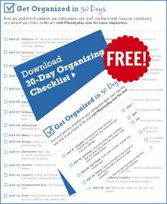 FREE 30-Days To Organization Checklist!