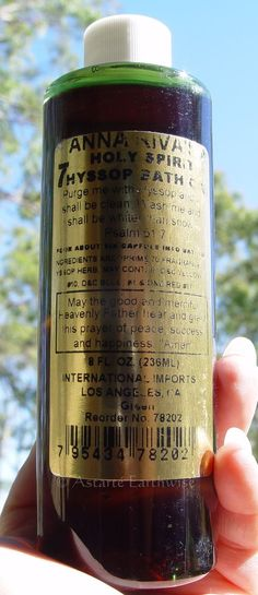 BATH OIL: ANNA RIVA S SEVEN HOLY HYSSOP 236mls Wicca Witch Pagan Spell Goth Herb