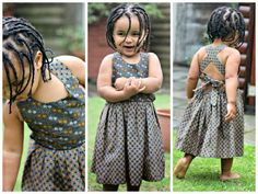 Cross back dress by diyanu fashion magazine African Babies, African Children, African Girl, African Women, African Attire, African Wear, African Dress, Baby Girl Fashion, Kids Fashion