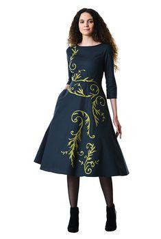 Filigree wool embellished poplin dress 4c5f965b8