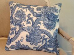 20 22  Blue Paisley Print Pillow Cover by Caswellandcompany, $38.50