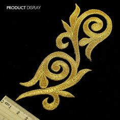 Gold Applique Iron On Patch Embellishment Embroidered Garment Decoration Parches bordados Sewing Supplies Shirt Embroidery, Gold Embroidery, Hand Embroidery Designs, Embroidery Patterns, Sew On Patches, Iron On Patches, Crochet Bedspread Pattern, Motifs Perler, Brazilian Embroidery
