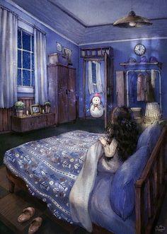 Late Night Visitot by Korean Artist Aeppol Art And Illustration, Illustrations, Girl Cartoon, Cartoon Art, Art Magique, Frida Art, Forest Girl, Whimsical Art, Anime Art Girl