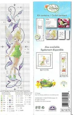Tinkerbell bookmark 2 of 2 Cross Stitch Fairy, Cross Stitch For Kids, Cross Stitch Bookmarks, Cross Stitch Books, Beaded Cross Stitch, Cross Stitch Charts, Cross Stitch Designs, Cross Stitch Embroidery, Cross Stitch Patterns