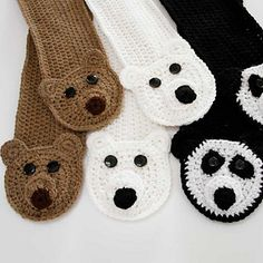 Crochet a fun pocket scarf and keep your hands warm! Choose your favorite bear - a Panda, Polar or Brown bear. This pattern includes instructions to complete all three. Instructions included for youth, adult and custom size scarves.