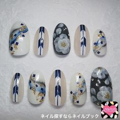 Blue, white and flower Flower Nail Designs, Simple Nail Art Designs, Nail Polish Designs, Asian Nail Art, Asian Nails, Korea Nail Art, Japanese Nail Art, Nail Photos, Manicure Y Pedicure