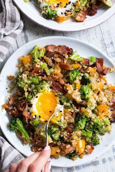 This breakfast cauliflower fried rice is savory filling and ridiculously tasty! It's packed with veggies bacon seasoned just right and topped with perfectly cooked eggs. This breakfast anytime meal is also Paleo low carb and keto friendly! Paleo Cauliflower Fried Rice, Paleo Rice, Riced Cauliflower, Cauliflower Risotto, Califlower Rice, Cauli Rice, Cauliflower Ideas, Paleo Running Momma, Eat Better