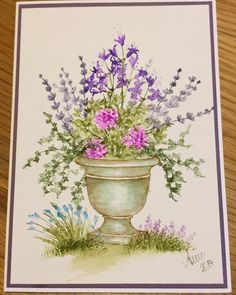 Art Impressions Rubber Stamps: Wonderful Watercolor.  Handmade card with flower pot, flowers, foliage, grass.