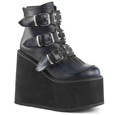 1edbc4d73757 Black Buckled Gothic Platform Boots by Demonia. Vegan leather Demonia  womens goth platform boots with buckled straps and a high wedge platform  heel.