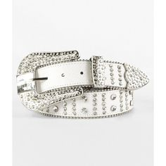 BKE Rhinestone Belt ($30) ❤ liked on Polyvore featuring accessories, belts, white, bke belts, beaded belt and white belt