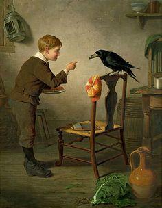 Boy with Raven - H.C. (c.1879)