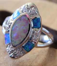 fire opal Cz ring Gemstone silver jewelry size 7 exquisite vintage style FR07JE