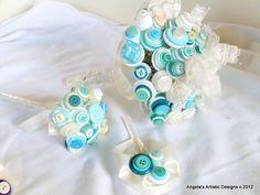Teal button Bridal bouquet Set, toss bouquet, artificial flowers, alternative, non traditional on Etsy, $148.00