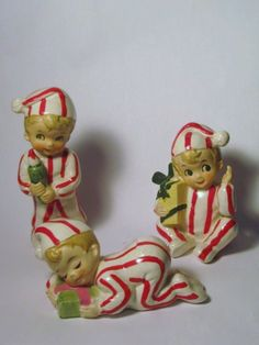 RARE 3 Vintage Christmas Santa Pixie Elf by BrilbunnySelections, $195.00
