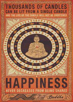 """Fantastisk tapet Buddha i centrum. Fina färger och ett riktigt fint visdomsord -""""Thousands of candles can be lit from a single candle and the life of the candle will not be shortened."""" Tapeten är storleksmässigt anpassad för att kunna centreras på din vägg. Det ger e..."""