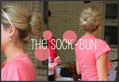 The sock-bun! You can wear this for a cute, quick do by cutting a sock in half! Or, if you make a high bun with the same method overnight and take it out later, you will have nice thick ringlets
