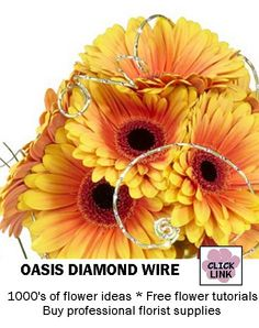 Diamond cut wire for accenting bridal bouquets and centerpieces  Learn how to make bridal bouquets, corsages, boutonnieres, wedding reception table centerpieces and church decorations.  Buy fresh flowers and discount florist supplies.