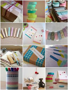 Washi tape crafting. I love the clothespins.
