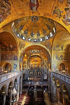 'Basilica di San Marco - Venezia' by Hercules Milas Sacred Architecture, Church Architecture, Historical Architecture, Saint Mark's Basilica, Venice Travel, Places In Italy, Byzantine Art, Cathedral Church, Sacred Art