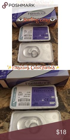 Freshlook Contact Lense Sterling Gray ✨PRICE IS FIRM✨    ✨SAME DAY SHIPPING or SHIPS IN 24HRS AFTER PURCHASE ✨  Brand: Freshlook ColorBlends (SOFT LENS) Non-Prescription  Expires: 2020 For cosmetic use only  Our contact lenses provide a safe and unique way to enhance your appearance. It can be use multiple times with proper care. Our FreshLook contacts offer a wide palette of beautiful colors for both dark brown eyes and light eyes. Makeup