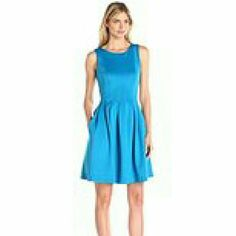 NWT Calvin Klein Dress! Beautiful bright blue Calvin Klein dress, NWT, never been worn! Has back zip and flattering pleated skirt with pockets, knee length. Size 2. Pics don't do it justice - absolutely stunning! Calvin Klein Dresses Midi