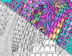 Coloring Page Printable  Curious Curves by MichelleBowdenArt