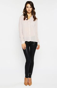 Trouvé Pocket Shirt & Paige Coated Stretch Denim Jeans #Nordstrom #Work
