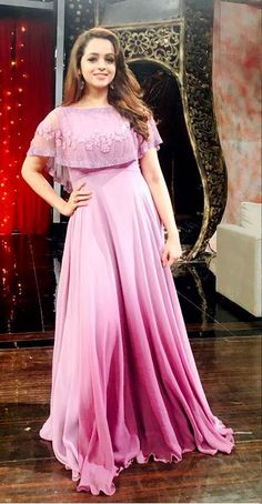 Bhavana in lavender ombre cape gown costume by label m Long Gown Dress, Frock Dress, Saree Dress, Cape Gown, Lehenga Suit, Indian Designer Outfits, Designer Dresses, Stylish Dresses, Fashion Dresses