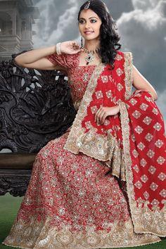 Carnelian Red Georgette Wedding and Festival Embroidered Lehenga Choli
