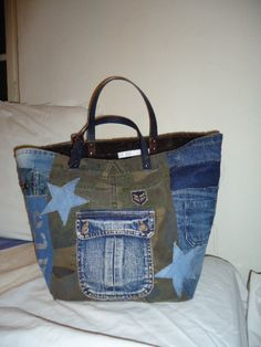 30-GRAND SAC CABAS JEAN ET CAMOUFLAGE TOP MODE
