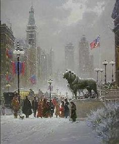 Exhibition Day Chicago by G Harvey. A gift from our children. American Legend, American Art, G Harvey, Russian Painting, Color Studies, Winter Art, Artist Painting, Illustration Art, Illustrations
