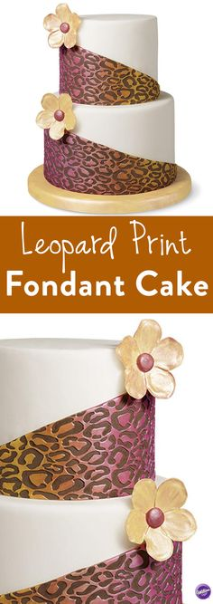 Leopard Print Fondant Cake - Bold leopard print, bright colors and fun flowers frame this round two-tier fondant cake. Create a wild design using the Wilton Decorator Preferred Fondant and Fondant Pattern Embosser with Leopard Pattern Roller. This cake is perfect for for garden parties, girl's night out or bridal showers.