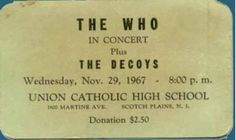 """The Who """"Quadrophenia"""" concert ticket from 1967"""